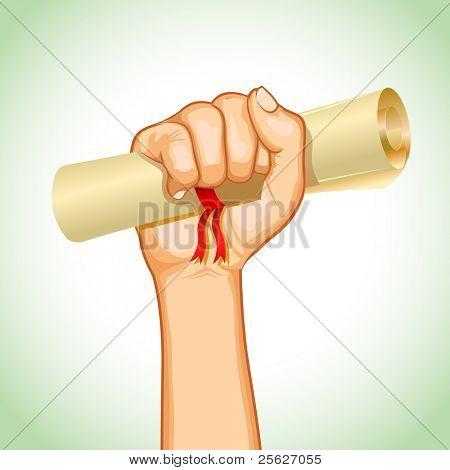 illustration of hand holding graduation certificate