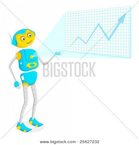 illustration of robot giving presentation on touch screen