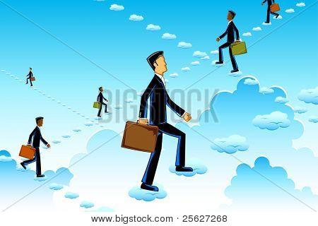 Abbildung der Geschäftsmann auf Wolke Treppen steigt