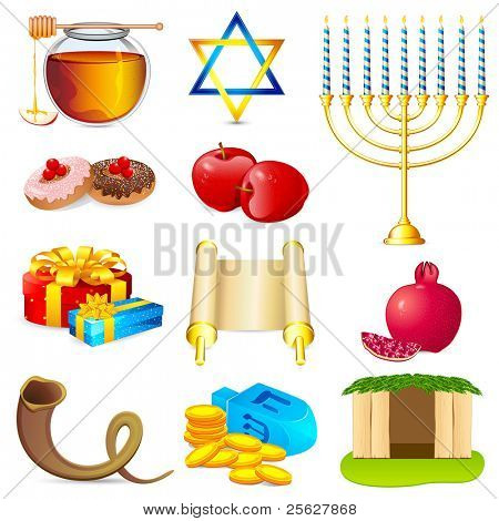 illustration of set of element for hanukkah and chanukah