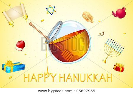 illustration of card for hanukkah with honey and star of david