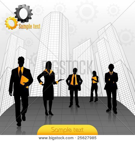 illustration of business people standing on office building backdrop