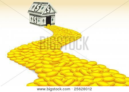 illustration of coin road moving toward dollar house
