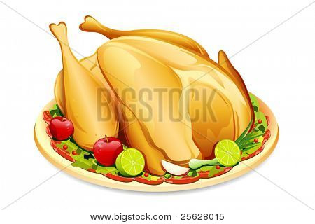 illustration of roasted holiday turkey on platter with garnish