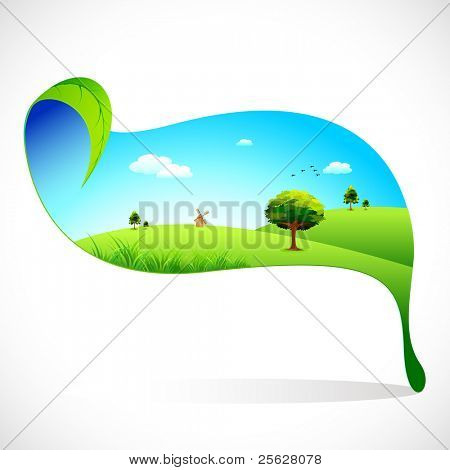 illustration of eco friendly landscape on leaf on abstract background