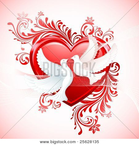 illustration of pair of dove with heart on abstract floral background
