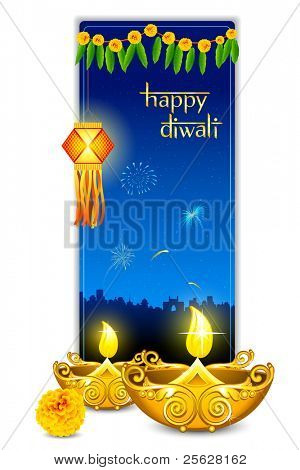 illustration of burning diya with hanging lamp in diwali card