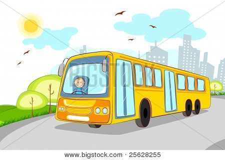 illustration of driver in school bus on cityscape background