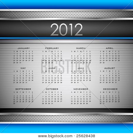 illustration of complete calendar for 2012 in abstract background