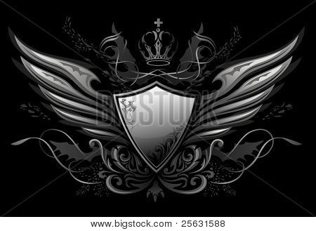 Gothic Winged Shield Insignia