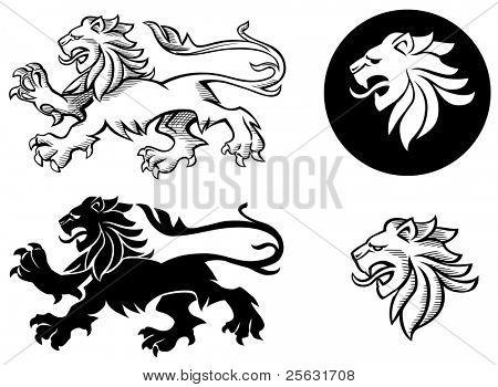 Siluetas de león heráldico
