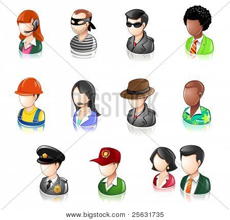 Various Profession People Glossy Icon Set