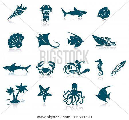 Conjunto de ícones de vida do Oceano