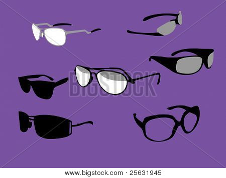 Vector illustration of sunglasses white, black and grey.
