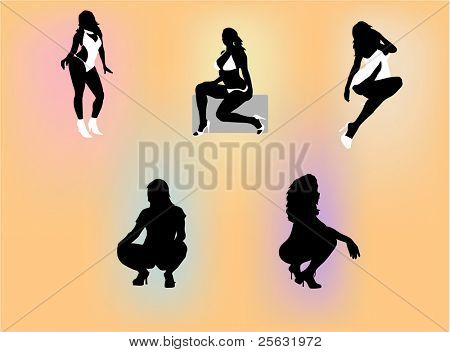 Silhouettes of several sexy women posing with explicit and suggestive expressions.