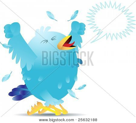 Blue bird yelling and screaming either in pain or joy. Bird can be used for social networking and is easily editable.