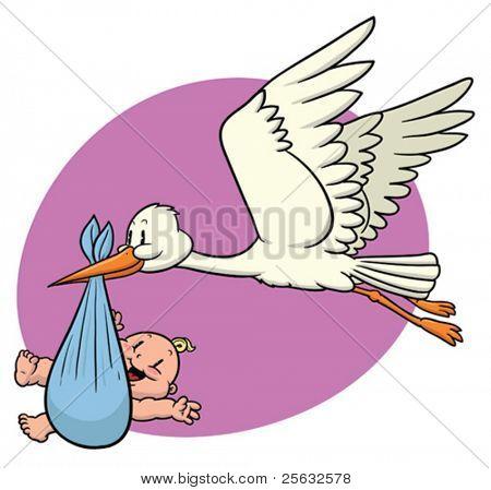 cute Cartoon Storch tragen ein Neugeborenes Baby.