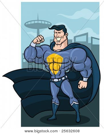 Cartoon superhero with cape. Character and background in different layers for easy editing.