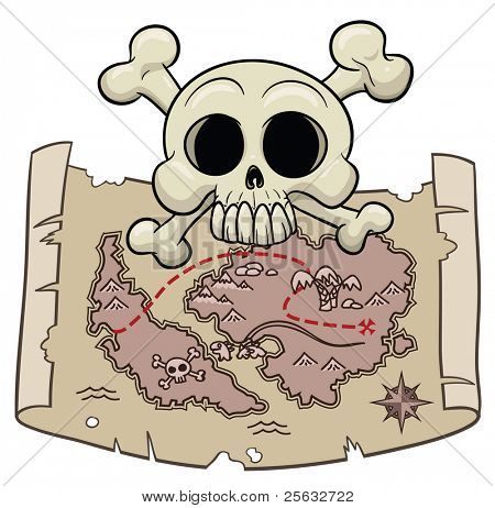 Pirate's treasure map with skull on top. The elements are placed on six different layers for easy editing.