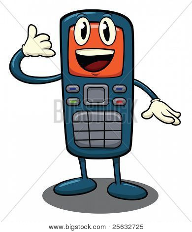 Cute cartoon cellphone. Character and shadow on different layers for easy editing.