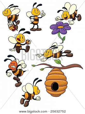 Cute cartoon honeybees. All elements in different layers for easy editing.