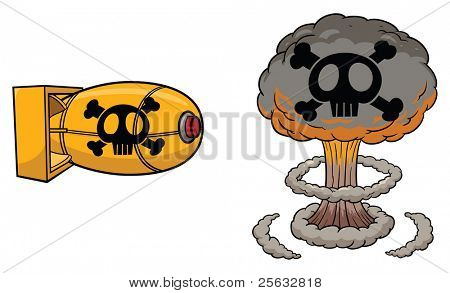 Cartoon atomic bomb and atomic mushroom cloud.