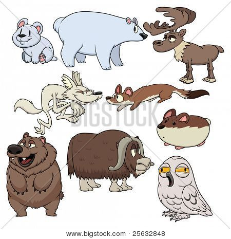 Cute cartoon tundra dwelling animals. All in separate layers for easy editing.