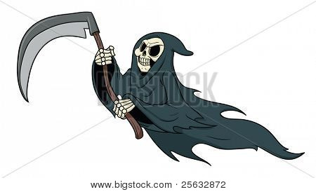 Grimm reaper cartoon vector illustration.
