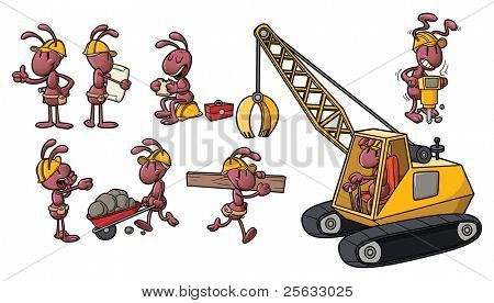 Cute cartoon worker ants. All in separate layers for easy editing.