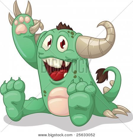 Cute cartoon green monster. Vector illustration with simple gradients. Character and shadow on separate layers for easy editing.