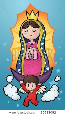 Cartoon illustration of the Virgin of Guadalupe. Vector illustration with simple gradients. Characters and background on separate layers for easy editing.