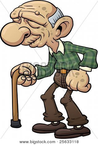 Cartoon grandfather with cane. Vector illustration with simple gradients.