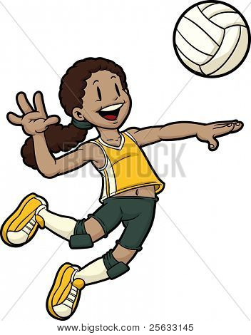 Cartoon girl volleyball player jumping. Character and ball on separate layers for easy editing.