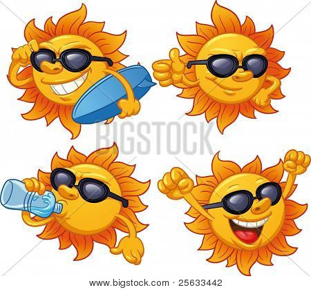 Cartoon sun character ready for summer. Vector illustration with simple gradients. All characters on separate layers for easy editing.