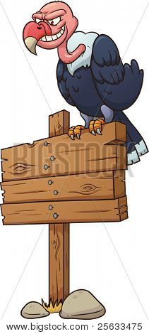 Cartoon vulture standing on a wooden sign. Vector illustration with simple gradients. All in a single layer.