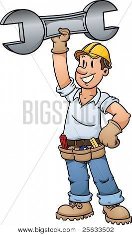 Cartoon construction worker holding a giant wrench. Vector illustration with simple gradients. All in a single layer.