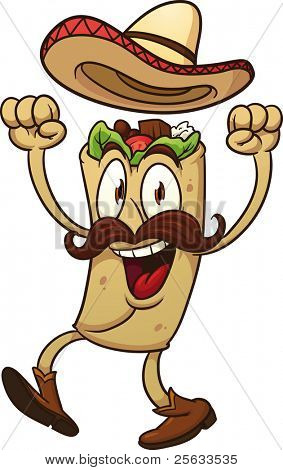 Cartoon mexican taco. Vector illustration with simple gradients. All in a single layer.