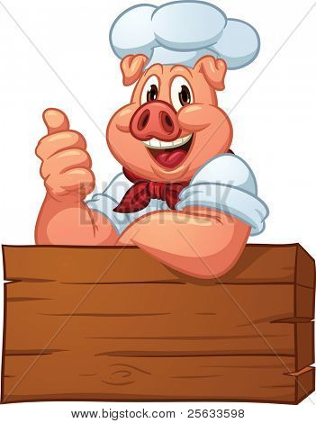 Happy pig chef. Vector illustration with simple gradients. All in a single layer.
