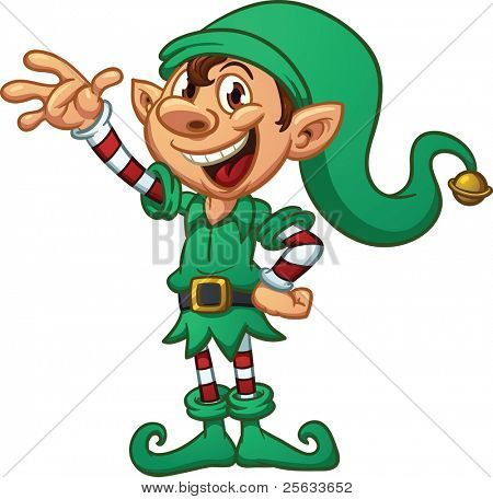 Cartoon Christmas elf. Vector illustration with simple gradients. All in a single layer.
