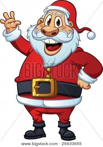 Cute cartoon Santa Claus waving. Vector illustration with simple gradients. All in a single layer.