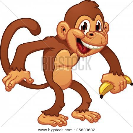 Cute cartoon monkey holding a banana. Vector illustration with simple gradients. All in a single layer.
