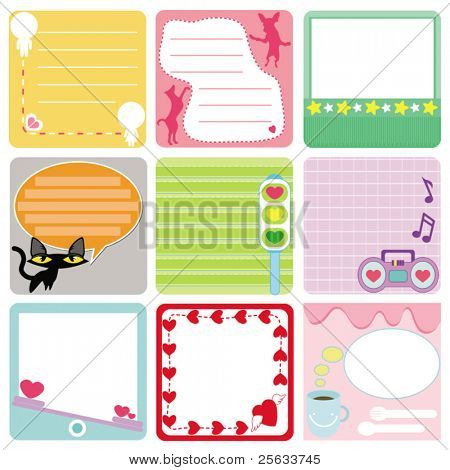 A Cute Collection of Blank Vector Labels. A set of pastel Tags Isolated on white.