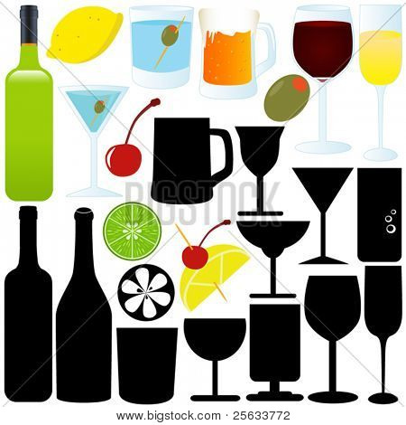 A vector set of bottles, glasses, containers, Cocktails (Silhouette & Outline)