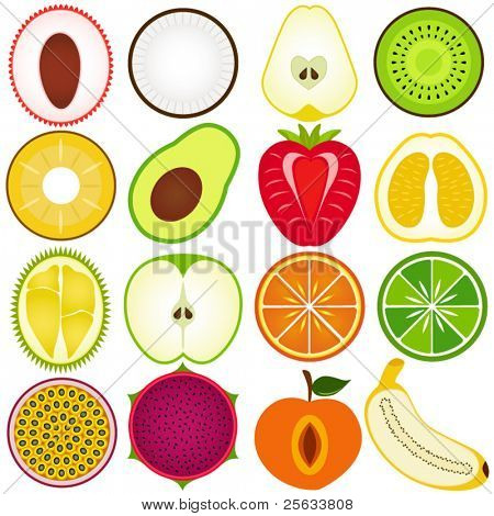 A vector collection of Fresh, Cute Vegetable, tropical fruit cut in half isolated on white