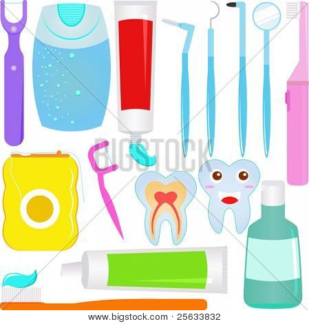 Cute Vector : Dental care (Tooth) Dentist Icons / Symbols