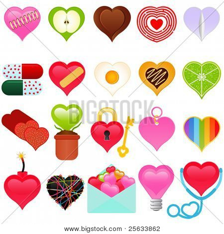 A vector collection of Valentine Theme - colorful set of heart icons