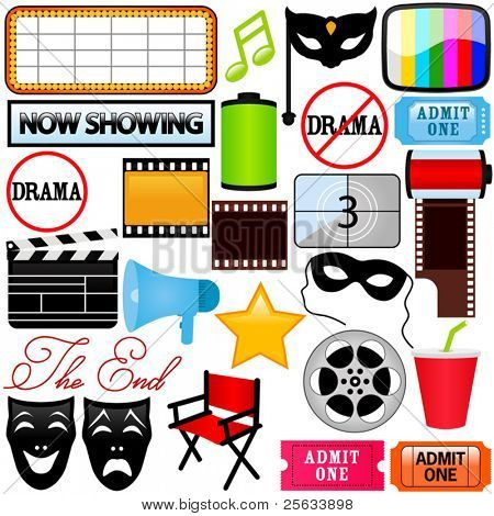 A colorful Theme of cute vector Icons : Drama, Entertainment, Film, movie