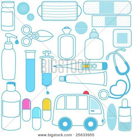 Cute vector icons: Medicines, Pills, Medical Equipments, Blue outline isolated on white