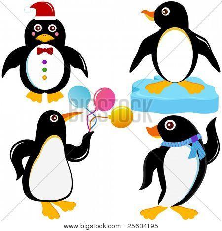 Un colorido conjunto de iconos de Vector de lindo Animal: aves marinas - pingüino