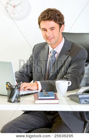 Modern Businessman Sitting At Office Desk And Working On Laptop